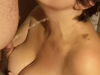 Mischievous wifey takes a fountain of steamy pee and enjoys it
