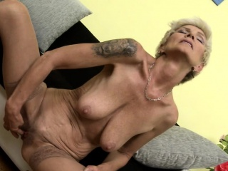 Weighty titted flaxen-haired granny masturbating