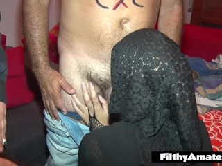 Real fuck-a-thon with priest and 2 naughty wives