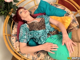 Horny mature Irena toying with herself