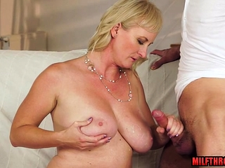 Heavy breast milf dildo in the matter of cum out of reach of breast