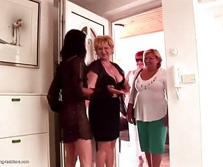Mischievous lezzy gang bang-out with matures and strapons