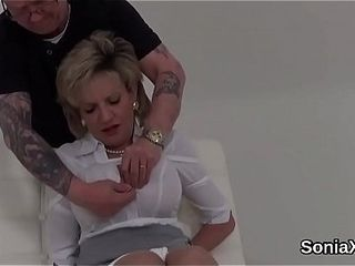 Adulterous brit mature female sonia jizzes out her oversized knockers