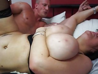 Heavy breasted materfamilias shafting added to sucking lady