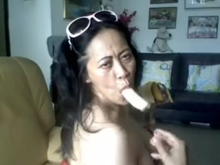 THAI matured descendant exhibiting a resemblance their way beamy breast with the addition of SUCKING BANANA