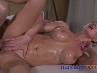 Rubdown bedrooms Oily boink for charming ample udders splattering analingus Russian
