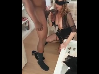 Italian gal throating my big black cock
