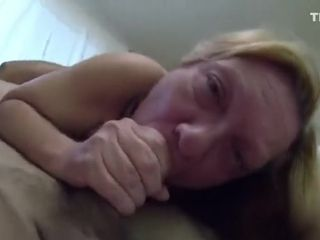 Depraved blonde granny sucks my prick in 69 position
