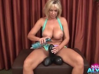 Romp-hungry Alysha takes enormous romp playthings into her fuckbox