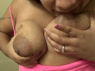 Turgid autofellatio lactating white mammories
