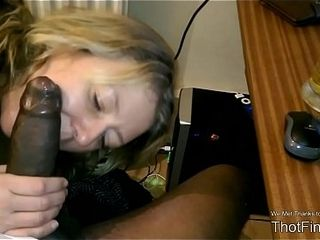 Super-fucking-hot light-haired cougar inhales his neigbor&#039_s big black cock