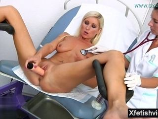 My suntanned wifey strokes In gynecology Cabinet