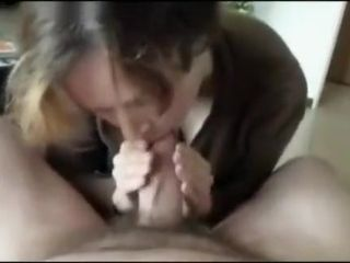 Granny cocksucking increased by swallowing - POV CFNM