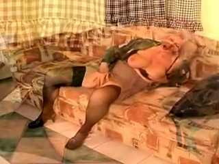 Grandmother solo toying getting off